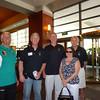 Coach Gestner, Scott McHardy '75, Ron Cosby '75,  Barbara Covington, Bob Crosby '73
