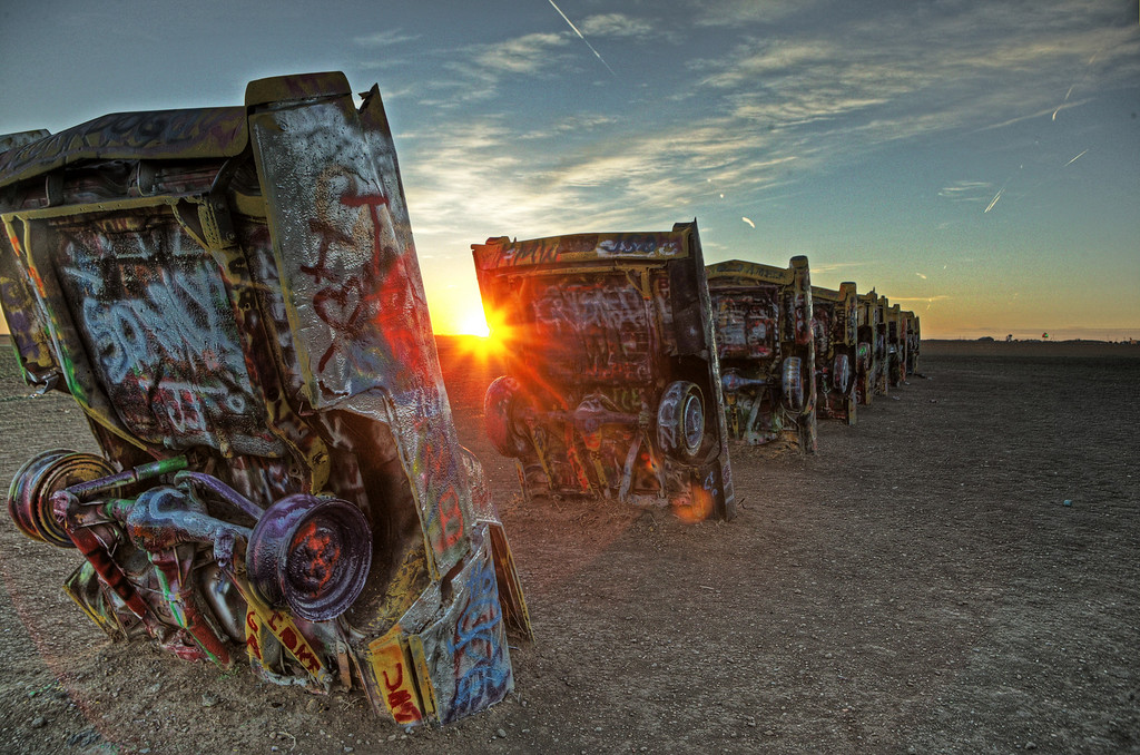 The Cadillac Ranch, just outside of Amarillo, Texas.
