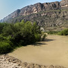 The Rio Grande River borders the park.  The cliffs are in Mexico