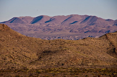 Rosillos Mountains through gap in the Chisos Mountains foothills.