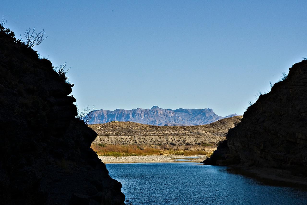 Chisos Mountains with Emory Peak from Santa Elena Canyon.