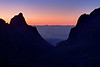 """The Last Sunset of 2011 through """"The Window"""" of the Chisos Basin."""