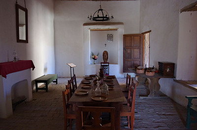 Dining Room at Fort Leaton with 3 foot thick adobe walls to keep the temperature moderated.