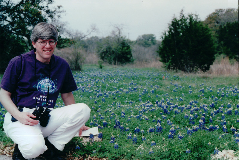 Randal in Field of Bluebonnets - Lady Bird Johnson Wildflower Center, Austin, TX  3-9-00