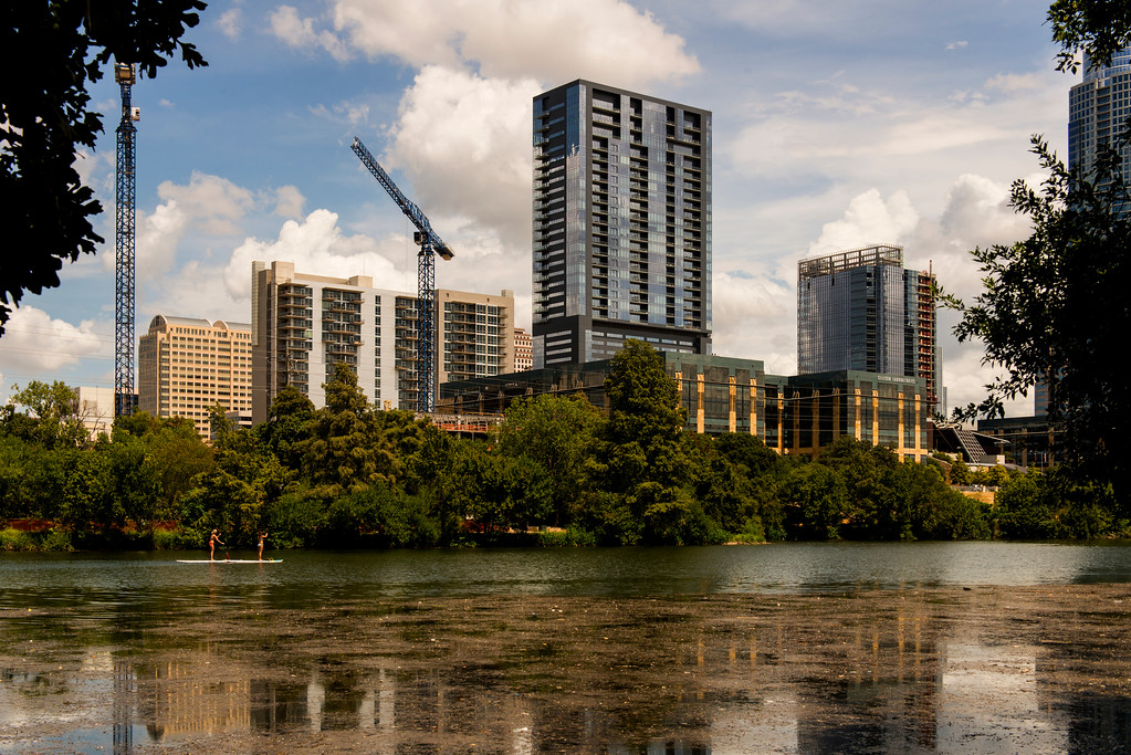 Austin Downtown Buildings from Lady Bird Lake Hike and Bike Trail