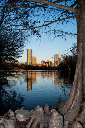Downtown Skyline - Sunset - Lou Neff Point - Zilker Park - Austin - Texas - USA