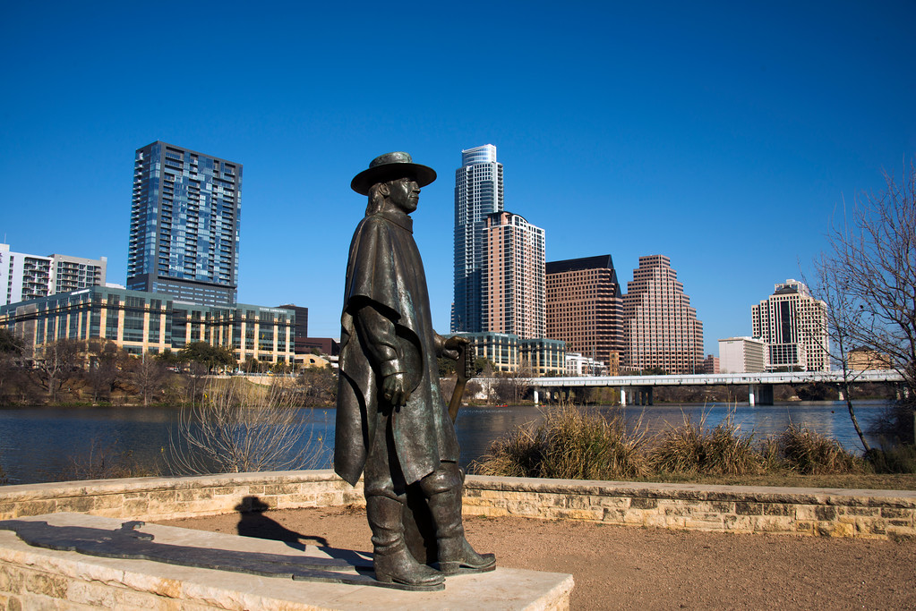 Stevie Ray Vaughan Statue - Downtown Skyline of Austin, Texas - Professional Skyline Photography