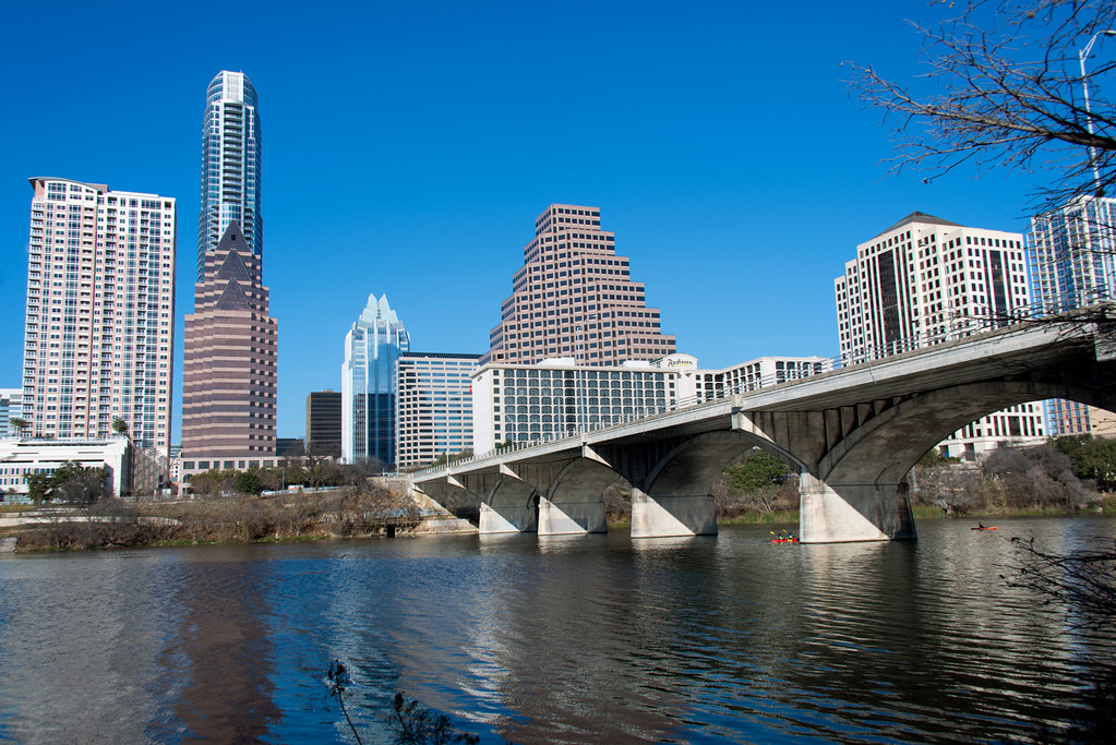 Downtown Skyline of Austin, Texas - Professional Skyline Photography, Congress Street Bridge