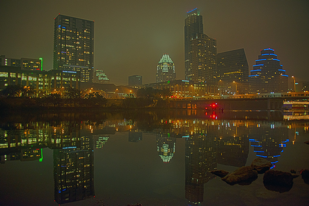 Downtown Skyline of Austin, Texas - Professional Skyline Photography - Austin Skyline in the fog