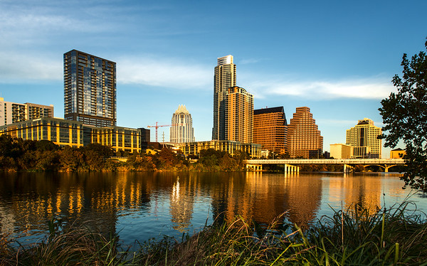 City Skyline at Sunset - Auditorium Shores - Austin - Texas - USA