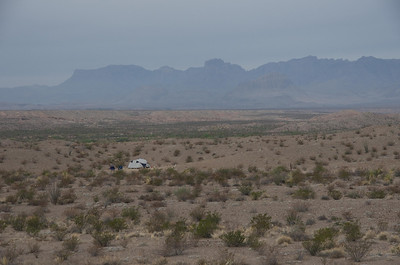 La Noria #1 Campsite and Chisos from Old Ore Road