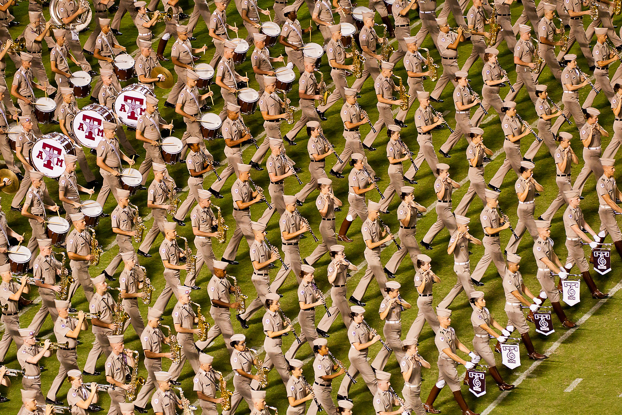The Fightin' Texas Aggie Band marching at halftime of the A&M / Idaho game.