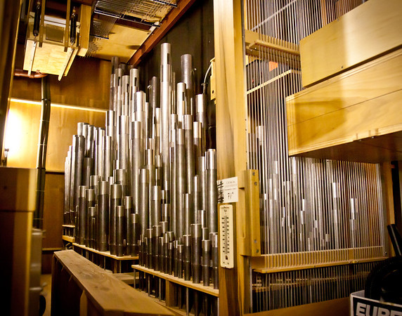 The smaller pipes inside the organ.