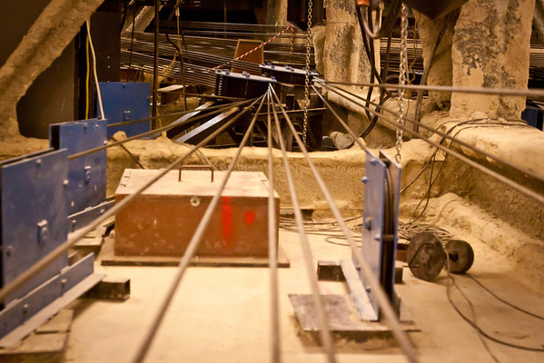 Rigging for the canopy in the attic.