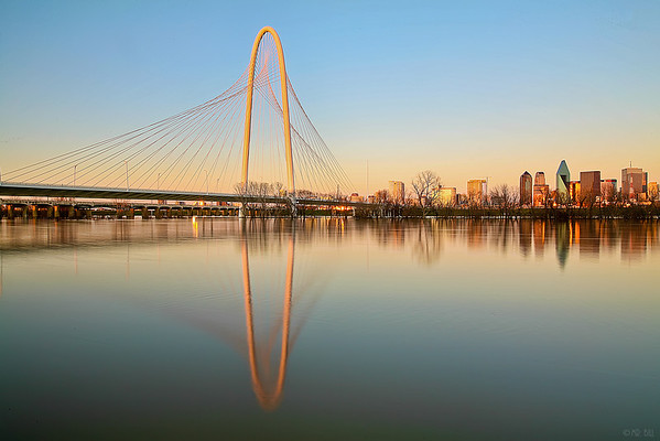 Margaret Hunt Hill bridge in Dallas, TX at sunset