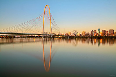 Margaret Hunt Hill bridge in Dallas, TX at sunset