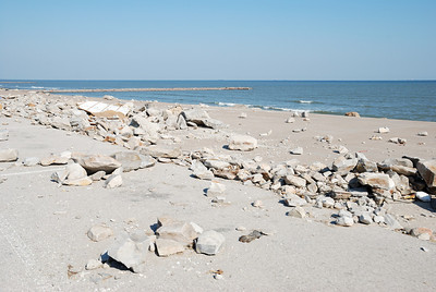 Galveston seawall damage.