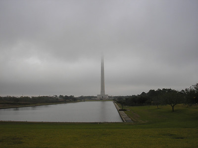 The Star is lost in the low clouds and fog at San Jacinto Monument