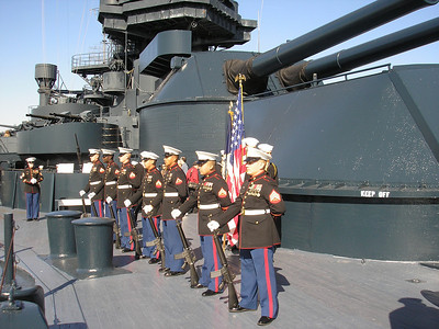 Marines provide 21 gun salute to the Survivors Who were on the Texas for Pearl Harbor Day