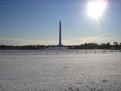 Snow on the grounds of the San Jacinto Monument SHS Texas