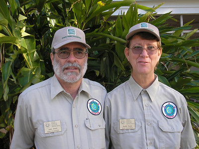 Two Volunteers ready for work at the San Jacinto Battleground / Battleship Texas State Historic Site