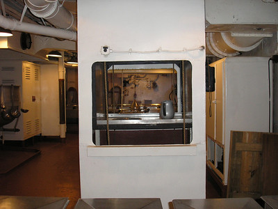 Dumb waiter from the Galley on main deck down to the serving line on the second deck