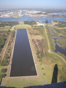 View from the top, you can see the Battleship Texas BB-35 in its berth on the Houston Ship Channel