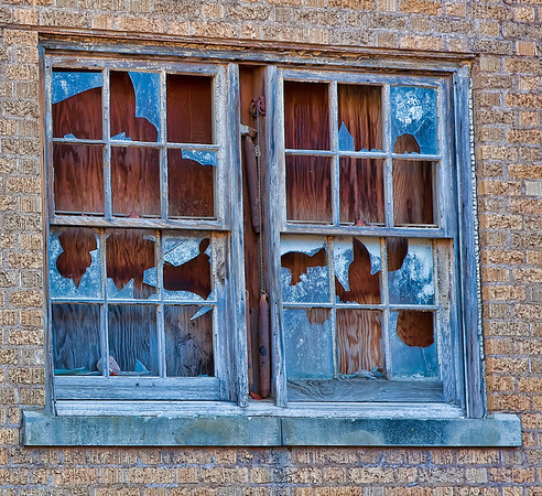 Window on the abandoned Baker Hotel in Mineral Wells, TX