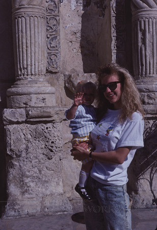 My sister Lydia with Trudy (age 1 1/2) at the Alamo