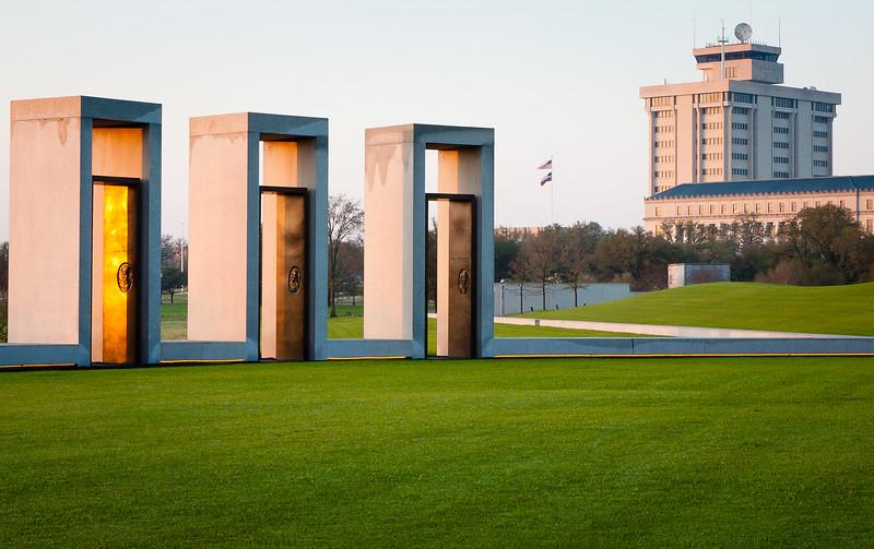Morning sun on the bonfire memorial at Texas A&M University.