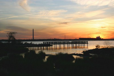 Sunset:  Fishing Pier on SJ Point - Baytown Nature Center