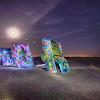 AMARILLO, TEXAS - April 2015: Famous art installation Cadillac Ranch at night