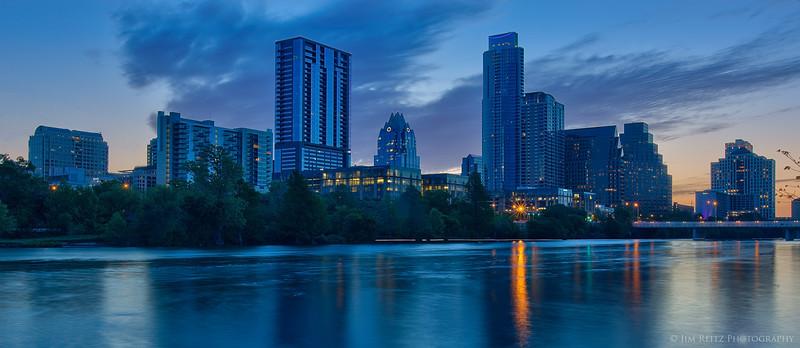 Downtown Austin, Texas skyline at dawn.