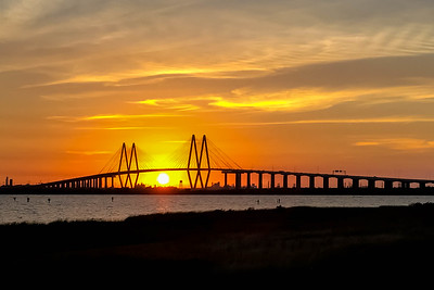 Fred Hartman Bridge at Sunset
