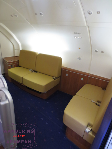 The first class lounge on board