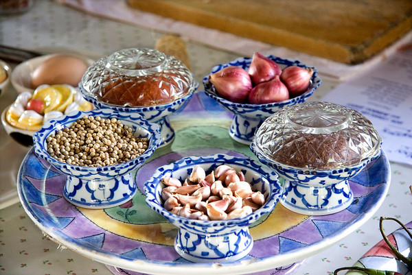Traditional Thai ingredients used in preparation  of Red Curry Paste