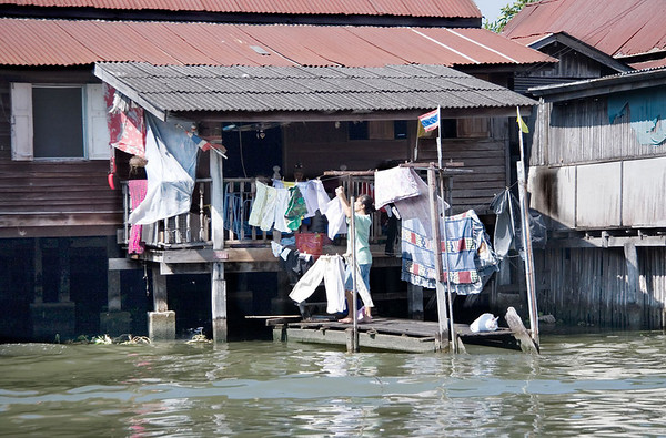 Every available space is used on this small dock to hang out the washing.