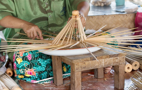 Chaing Mai is the country's principal crafts centre.  One of the local products is umbrellas, which are made of bamboo and paper.