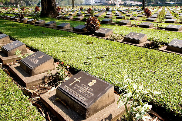 Memorial stones at the POW Cemetary, Kanchanaburi<br /> <br /> The cemetary contains the graves of almost 7,000 Allied, mostly British and Australian, prisoners who died building the Thailand-Burma Railway.