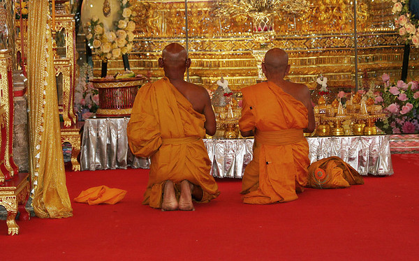 Monks in Wat Chantaram, Uttai Thani