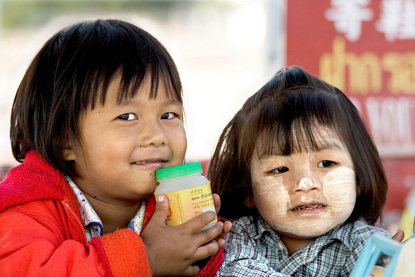 Even some Burmese children have painted faces.