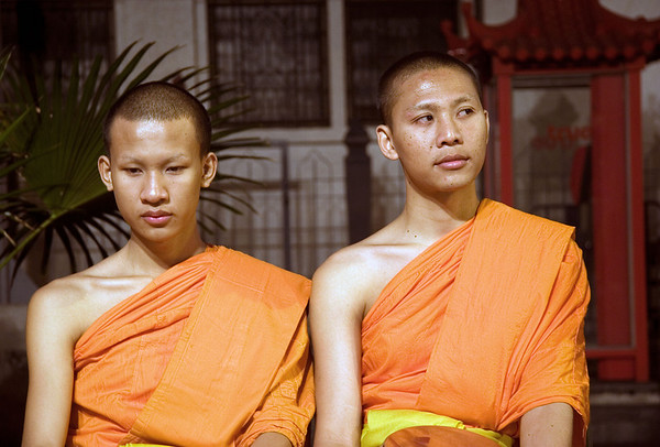 Most Thai males are ordained as monks in adolescence-a major rite of passage.  They usually spend at least a few months as monks, earning merit for themselves and their families.