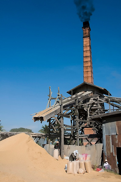 The plant was powered by steam and the steam was created by using the rice husk for fuel.