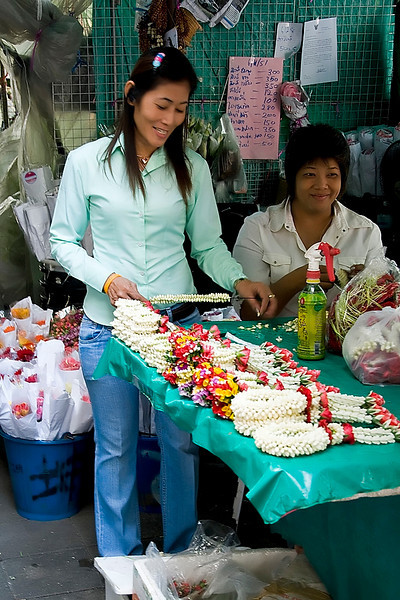 The Floral Market in the Chinatown area of Bangkok.