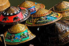 Colorful hand made and painted hats.