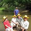 Beth and I leaving the elephant camp with Carol & Tom on a bamboo raft.  The camps are always located on a river as the elephants have such a large water requirement.