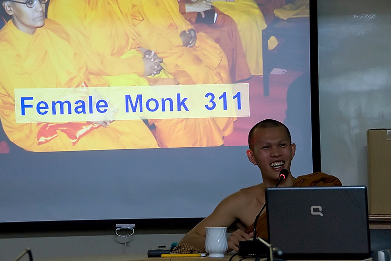 This monk was 13 when he went off to the university to be a monk.  When he was 20 he committed to the monkhood and became ordained.  He gave us a fun and informative lecture on Buddhism.