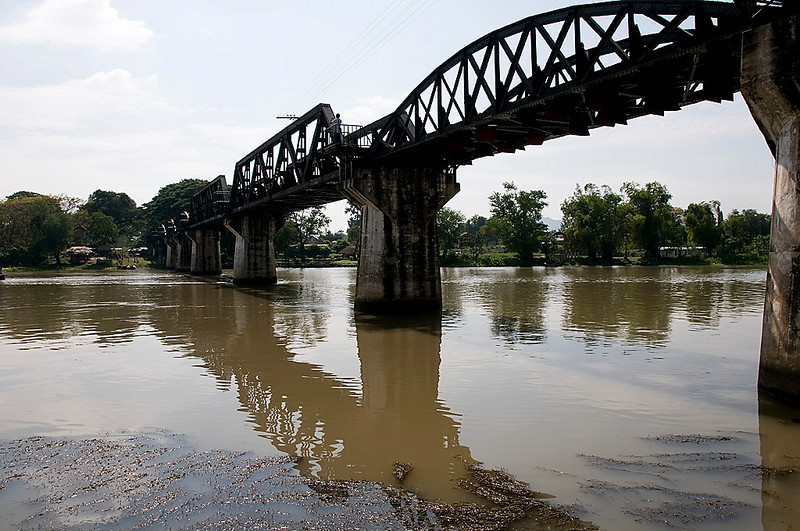 The Bridge over the River Kwai.  This is the second bridge built on this site by POW's and local conscripts during WWII.  The first, wooden, was bombed after it was finished.  This bridge also was bombed and the center sections (sqaure) are new.