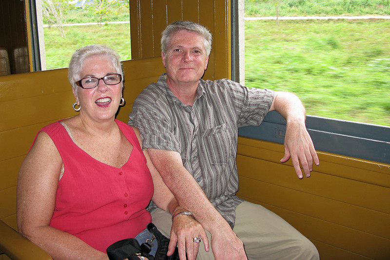 Beth and I, on one of the First Class rail cars.  We originally sat in the coach section which was very crowded with standing room only but they moved us to this car during the ride.  I think I may have preferred to stay in coach as there were many interesting people there.