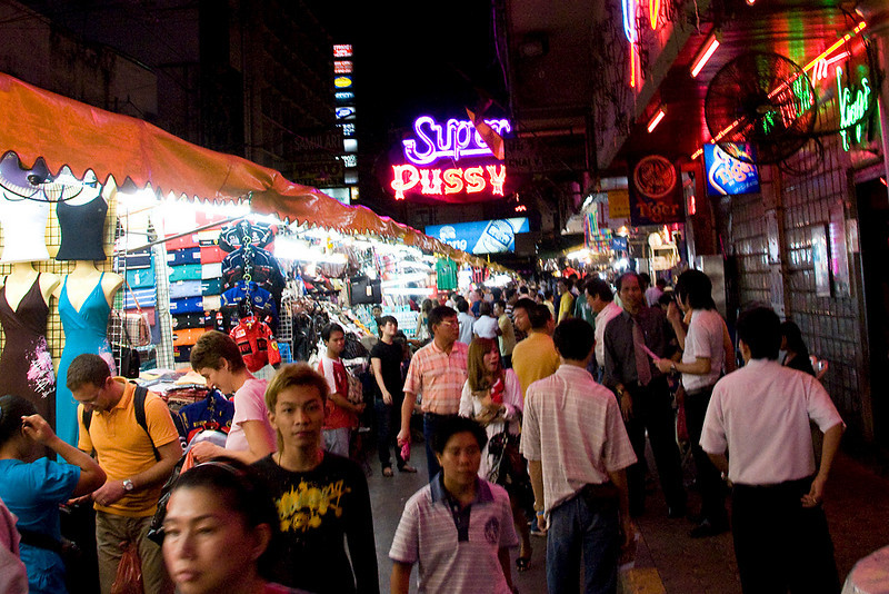 Back in Bangkok for our last two days (or so we thought) with an evening walk through the night market and the red light district.